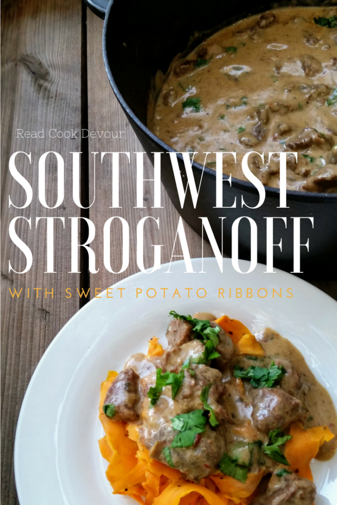 Southwest Stroganoff with Sweet Potato Ribbons