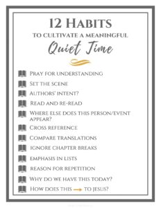 12 Habits To Cultivate a Meaningful Quiet Time | In the Word | Devotions | Studying Scripture |