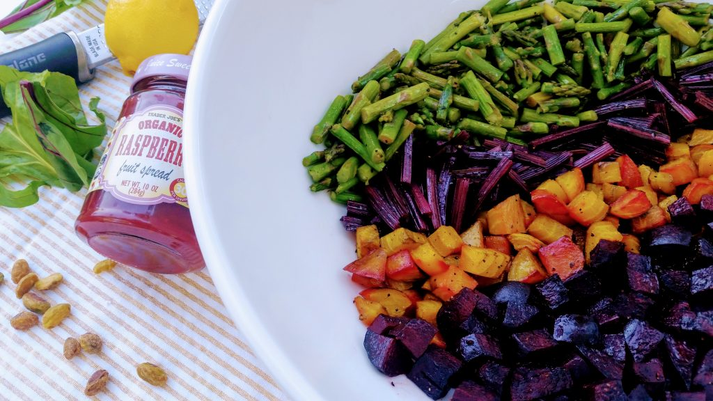 Beet + Asparagus Salad with Pistachio Lemon Beet-Top Pesto